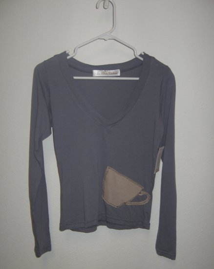 Blue Gray Long Sleeve V-Neck Top with Hand Stitched Coffee Cup, Size Medium