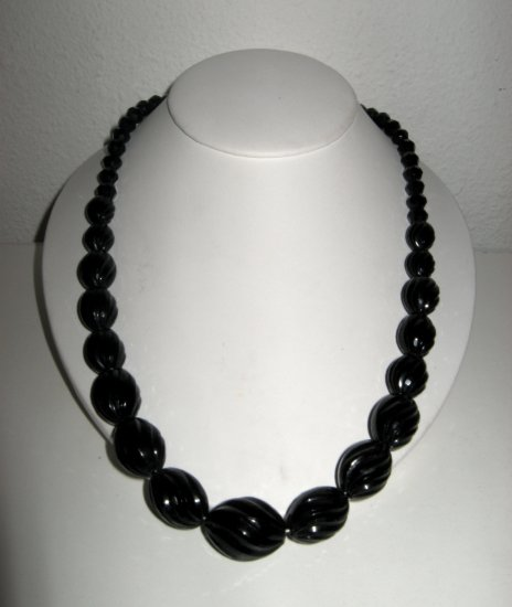 Vintage Round Black Plastic Bead, Necklace