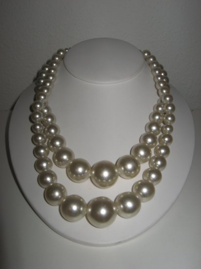 Vintage Double Strand Faux Pearl Necklace, Unique One-of-a-Kind Clasp