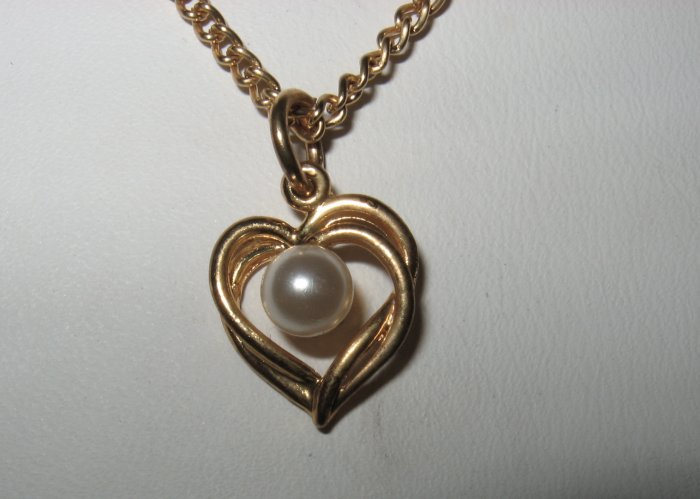 Retro Gold Plated Heart with Pearl Bead on Gold Chain, Necklace