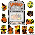 Retro Print Halloween Card Set