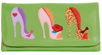 Green Faux Leather Wallet, Three Pinup Shoe Cut Outs