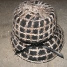 Vintage Hat, Felt Base with Knit Details in Black and White Hat, Black Leather Trim Detail