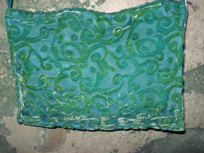 Hand Stitched Teal Velvet Design Purse