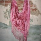 Beautiful Hand Dyed Shades of Pink Silk Shawl with Fringe