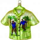 Hand Blown Glass Ornament, Collectors Vintage Golf Print Shirt