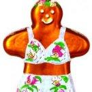 Hand Blown Glass Ornament, Beach Gingerbread Girl