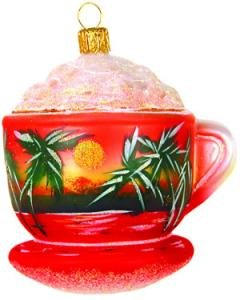 Hand Blown Glass Ornament, Cappuccino Cup with Sunset Picture