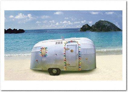 Holiday Trailer on Beach Card