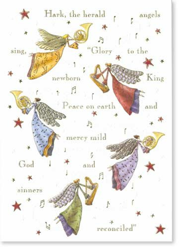 Set of 10 Angels Playing Instruments, Christmas Box Card Set