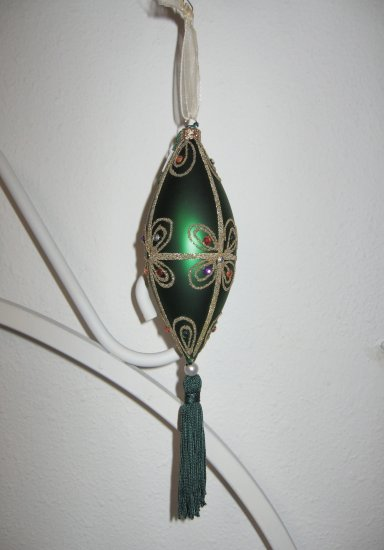 Green Glass Finial Ornament