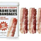 Bacon Strip Print Bandaids, Collectible Tin, Free Toy Inside