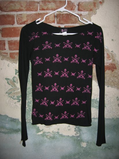 *New* Adeline Long Sleeve Black Top with Skulls and Guns, Size Small
