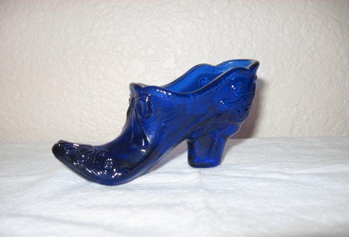 """""""Mosser"""" Cobalt Blue Glass Shoe, Bow Design"""
