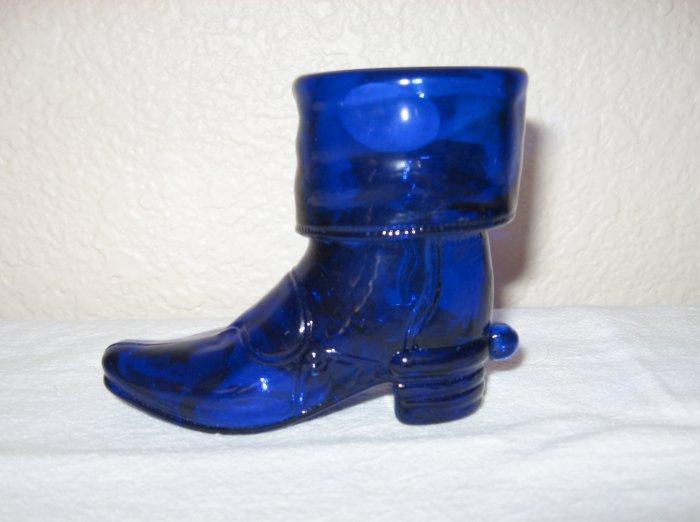 """""""Mosser"""" Cobalt Blue Glass Cowboy Boot"""