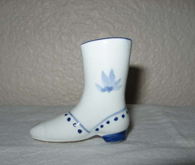 White Miniature Boot with Hand Painted Blue Design