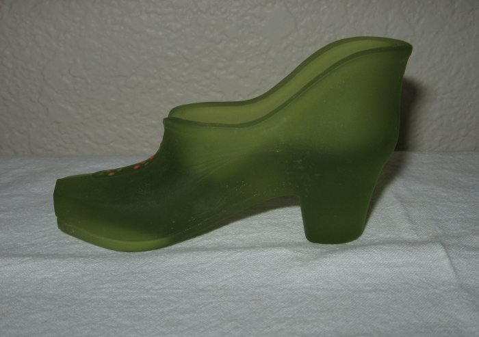Westmoreland Frosted Green Glass Hand Painted Shoe