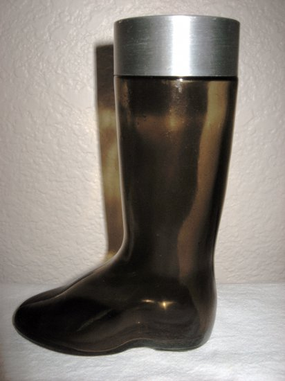 Dark Brown Glass Boot Bottle with Lid