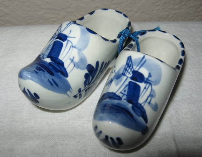 Pair of Delft Hand Painted Blue Ceramic Clogs.