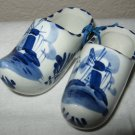 Pair of Delft Hand Painted Blue Ceramic Clogs.