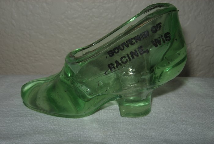 Souvenir Clear Green Shoe From Racine, Wisconsin.