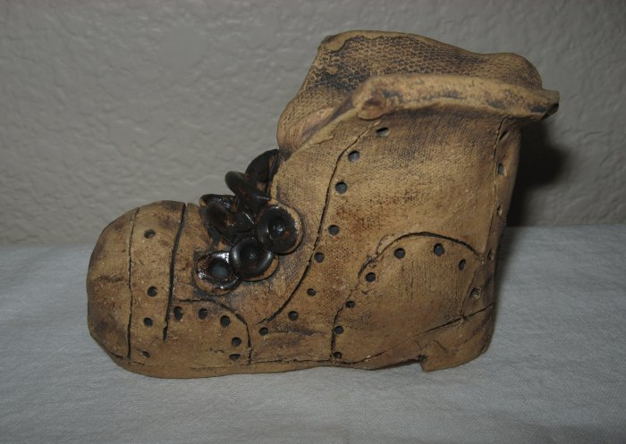 Unique Handmade Clay Boot.