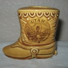 "Gold Colored Ceramic Boot Marked ""Utah"" on Side."