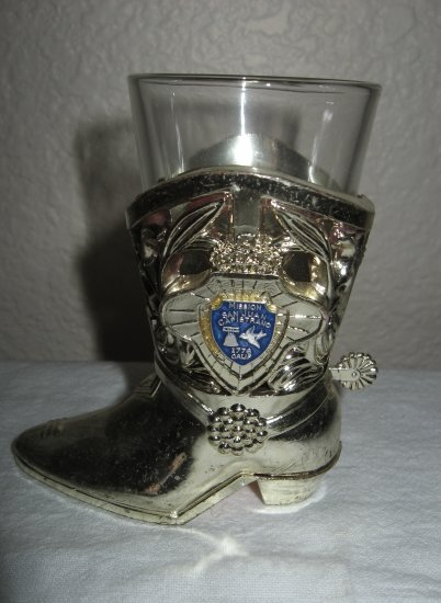 Silver Plastic Boot with Shot Glass Inside