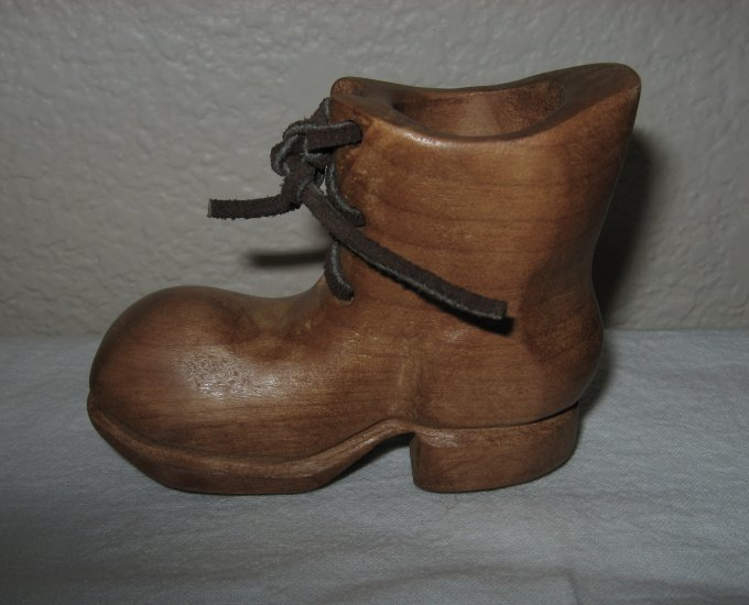 Wooden Boot with Leather Laces.