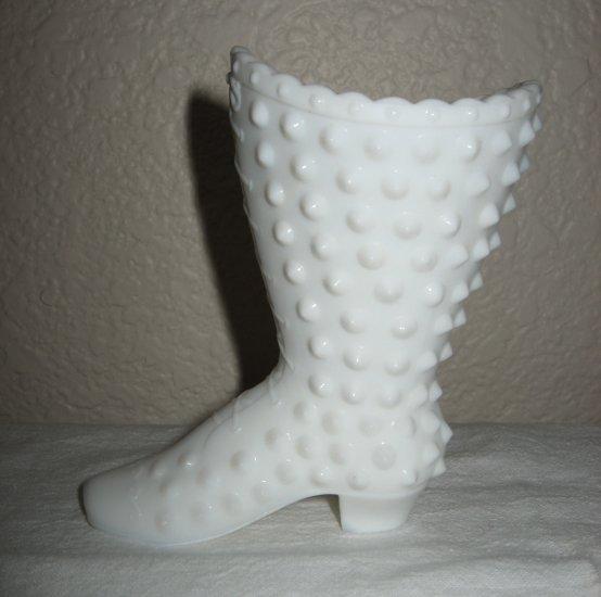 Fenton White Milk Glass Hobnail Boot (circa 1971).