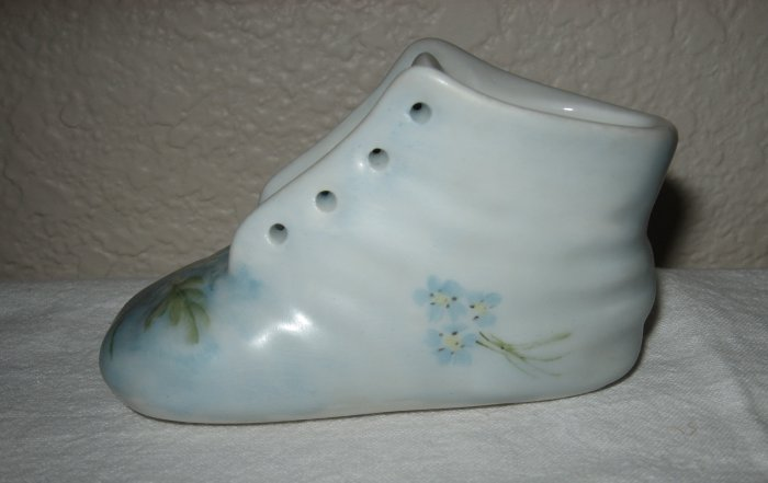 Light Blue Porcelain Booty Hand Painted By M. Schultz.
