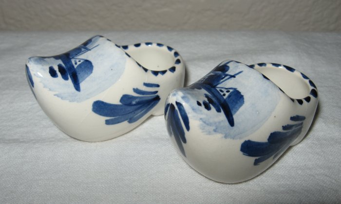Pair of Ceramic Delft Blue Clogs (Holland).