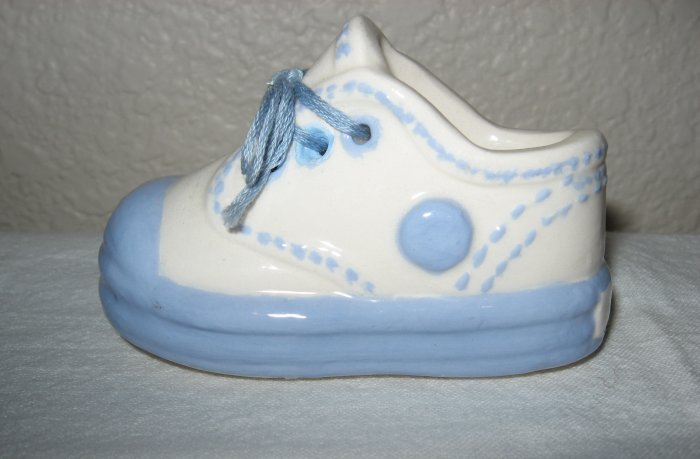 Ceramic Blue and White w/Laces Baby Shoe.