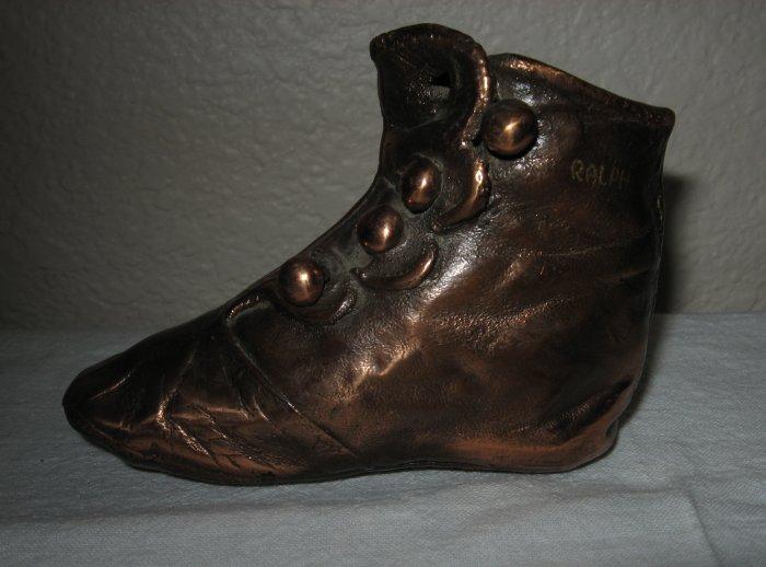 "Bronze Hi-Top Button Up Shoe Marked ""Ralph""."