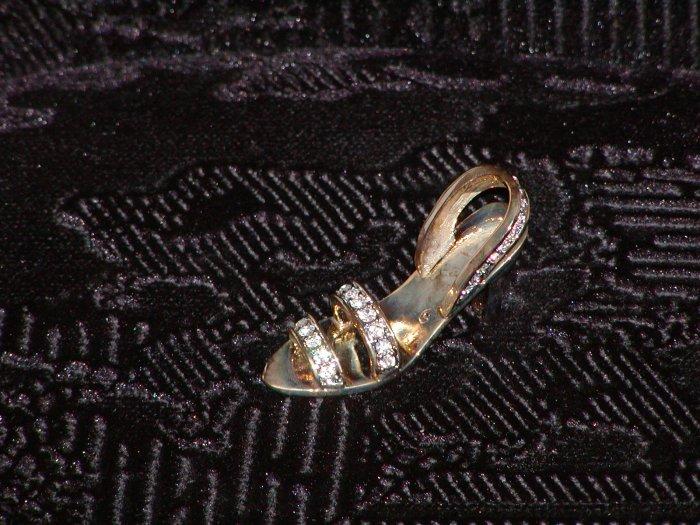 Miniature Metal Women's Slipper w/Rhinestones