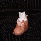 Miniature Hand Painted Kitten in Man's Work Boot (Scotland).