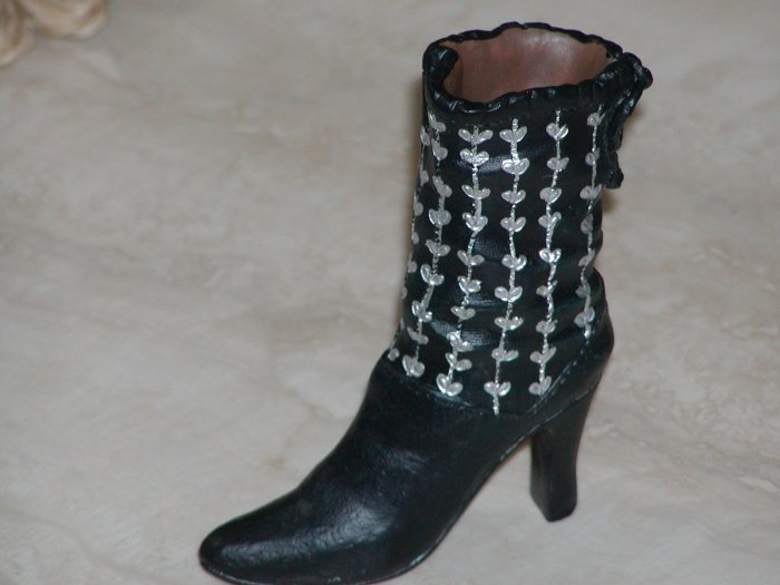 Ladies' Black High Heeled Boot with Silver Decoration