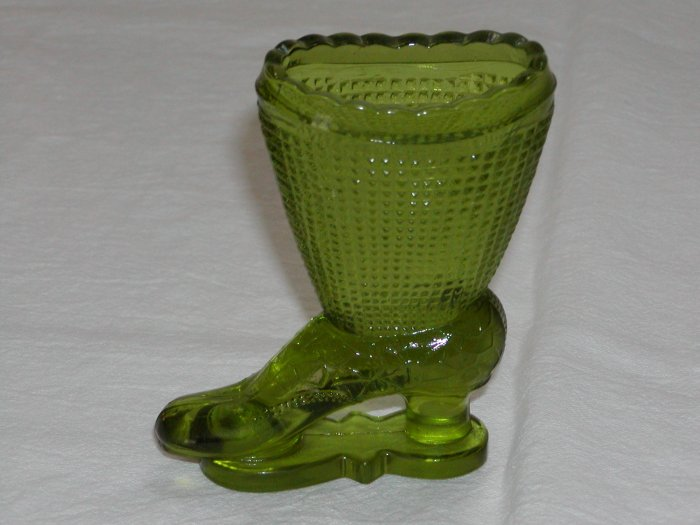 Green Glass Boot on Skates (Central Glass Works of Wheeling, W. Va circa 1964-1974).