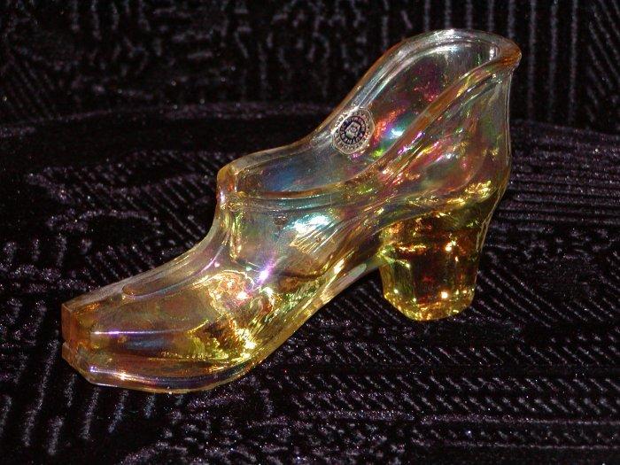 Westmoreland Gold Iridescent Glass Shoe.