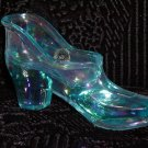 Westmoreland Aqua Iridescent Glass Shoe.