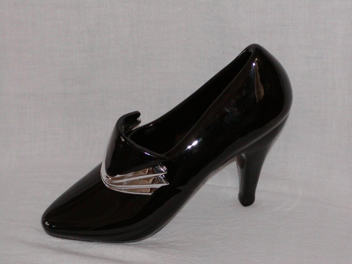 Black plastic Shiny Shoe with Black and Silver Buckle