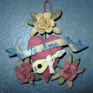 "Hand Made Orange Peel Ornament, ""Te Amo"" Banner, Hand and Guitar"
