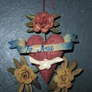 """Hand Made Orange Peel Ornaments, """"Te Amo"""" Banner, Two Hands Holding"""