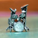 Silver Drum Set Tie Tack, Hand Made