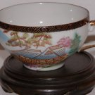 Vintage Porcelain Tea Cup, Pagoda and Bridge Picture, Wood Display Stand