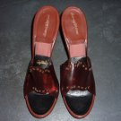 Vintage Open-Toed Red Shoes with Rhinestones