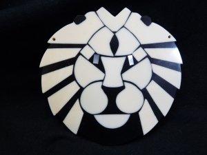 Large White and Black Lion Pendant