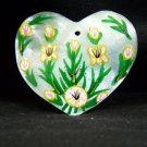 Shell Heart Pendant, Hand Painted with Flowers