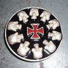 Black Silver and Red Skulls and Cross Belt Buckle