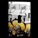 Single Switch Plate Cover, Day of the Dead Mariachi Band, Sheet Music Background